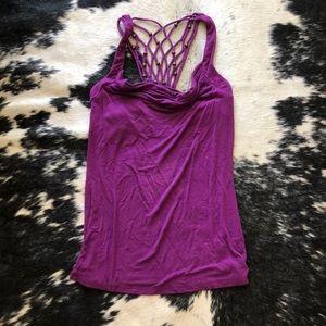 Scoop neck purple tank top